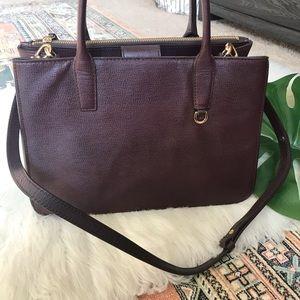 Banana Republic Genuine Leather Burgundy Tote Bag